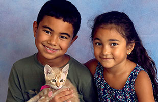 children with kitten